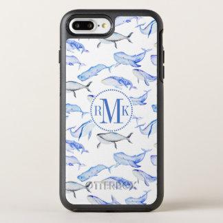 Watercolor Blue Whale Pattern OtterBox Symmetry iPhone 8 Plus/7 Plus Case