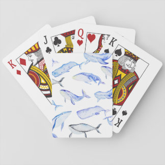 Watercolor Blue Whale Pattern Playing Cards