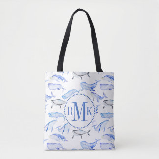 Watercolor Blue Whale Pattern Tote Bag
