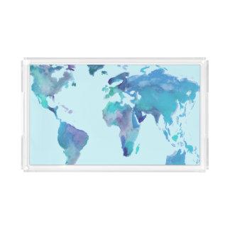 Watercolor Blue World Map Acrylic Tray