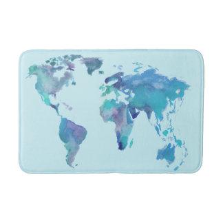 Watercolor Blue World Map Bath Mats