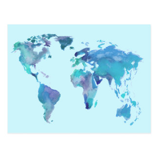 Watercolor Blue World Map Postcard