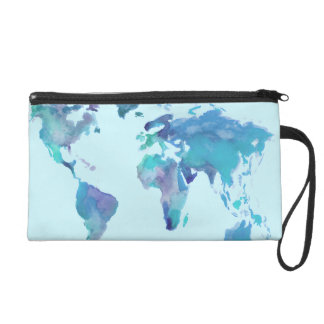 Watercolor Blue World Map Wristlet Clutches