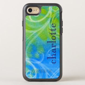 Watercolor Blue Yellow Abstract Swirls OtterBox Symmetry iPhone 8/7 Case