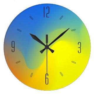 Watercolor Blue Yellow Lime Orange Artistic Clock