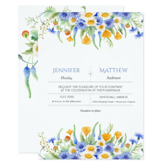 Watercolor Blue Yellow Wildflowers Invitations