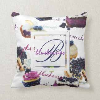 Watercolor Blueberries and Sweets Monogram Cushion
