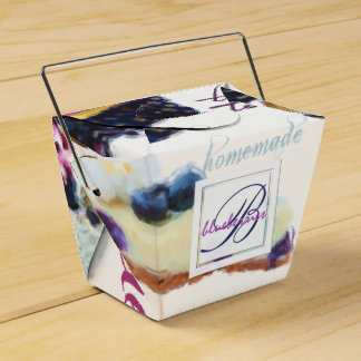 Watercolor Blueberries and Sweets Monogram Favour Box