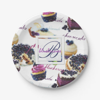 Watercolor Blueberries and Sweets Monogram Paper Plate