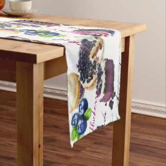 Watercolor Blueberries and Sweets Monogram Short Table Runner