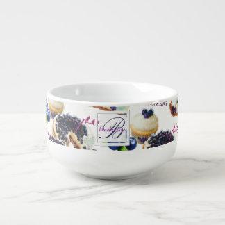 Watercolor Blueberries and Sweets Monogram Soup Mug