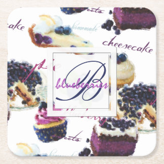 Watercolor Blueberries and Sweets Monogram Square Paper Coaster