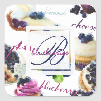 Watercolor Blueberries and Sweets Monogram Square Sticker