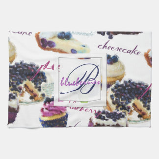 Watercolor Blueberries and Sweets Monogram Tea Towel
