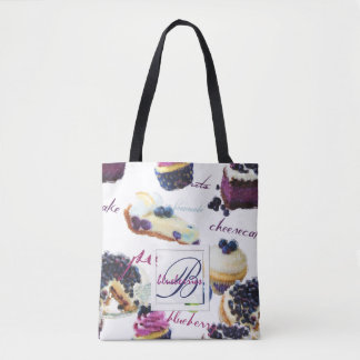 Watercolor Blueberries and Sweets Monogram Tote Bag