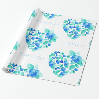 Watercolor Blueberries Cluster Heart Thank You Wrapping Paper