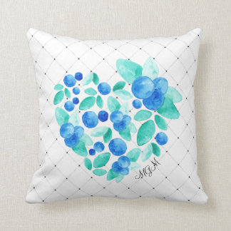 Watercolor BlueBerries Heart Abstract Monogram Cushion
