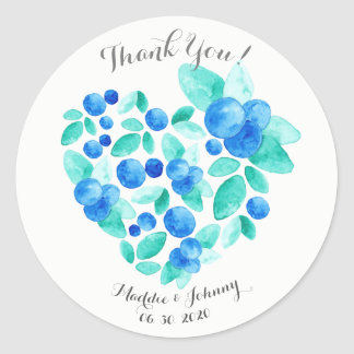 Watercolor Blueberries Heart Pattern Thank You Classic Round Sticker