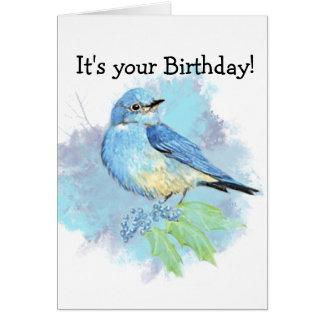 Watercolor Bluebird Garden Bird Art Card
