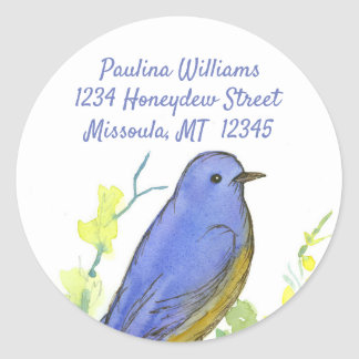 Watercolor Bluebird Return Address Classic Round Sticker