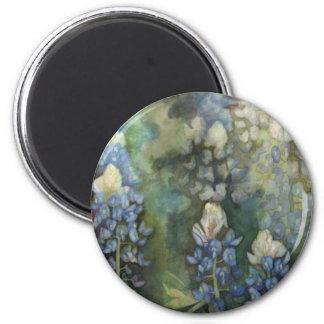 Watercolor Bluebonnets 6 Cm Round Magnet