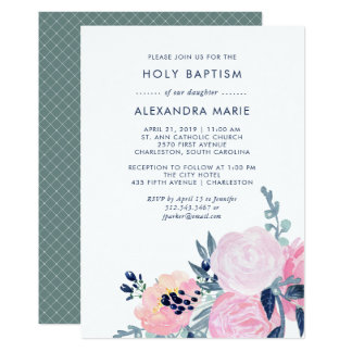 Watercolor Blush and Navy Floral Baptism Card