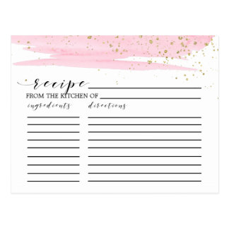 Watercolor Blush & Gold Bridal Shower Recipe Cards