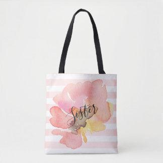 Watercolor Blush Peach Floral Custom Recipient Tote Bag