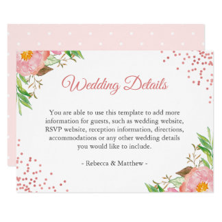 Watercolor Blush Pink Floral Wedding Details Info Card