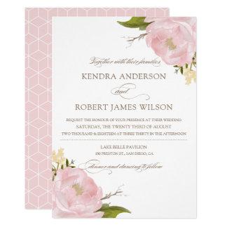 Watercolor Blush Pink Peonies Wedding Invitation