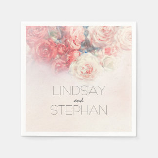 Watercolor Blush Pink Roses Wedding Paper Napkin