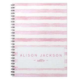Watercolor blush pink stripes pattern notebook