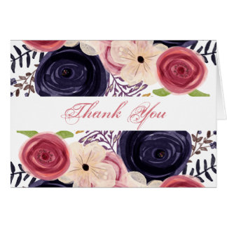 Watercolor blushing red Navy floral thank You Note Card