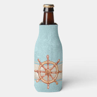 Watercolor Boat Helm Wheel ID385 Bottle Cooler