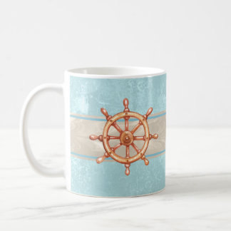 Watercolor Boat Helm Wheel ID385 Coffee Mug