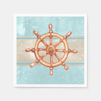 Watercolor Boat Helm Wheel ID385 Disposable Napkin