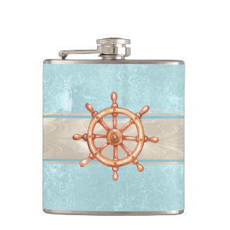 Watercolor Boat Helm Wheel ID385 Hip Flask
