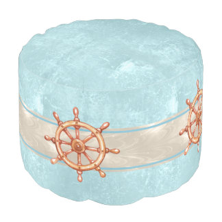 Watercolor Boat Helm Wheel ID385 Pouf