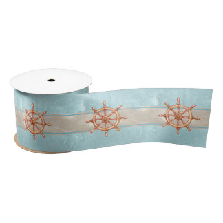 Watercolor Boat Helm Wheel ID385 Satin Ribbon