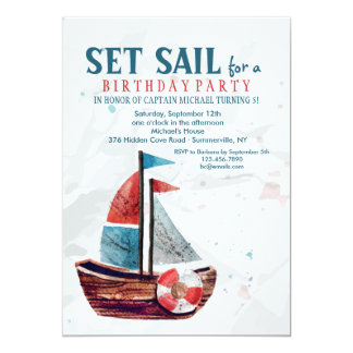 Watercolor Boat Invitation