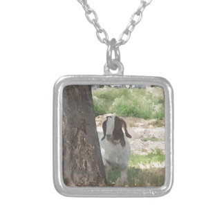 Watercolor Boer Goat Silver Plated Necklace