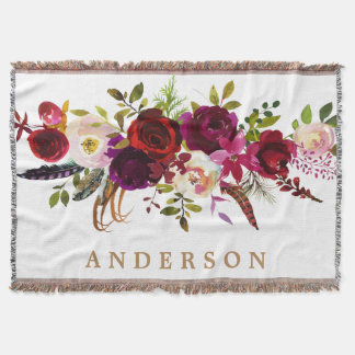 Watercolor Bohemian Floral Burgundy Marsala Red Throw Blanket