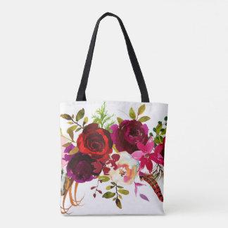Watercolor Bohemian Floral Burgundy Marsala Red Tote Bag