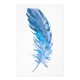 Watercolor Boho Blue Feather Stationery