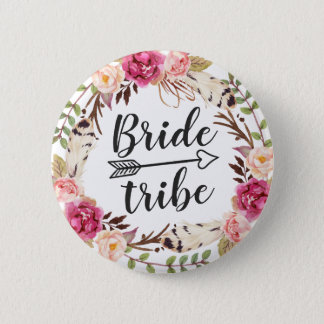 Watercolor Boho Feather Floral Wreath Bride Tribe 6 Cm Round Badge