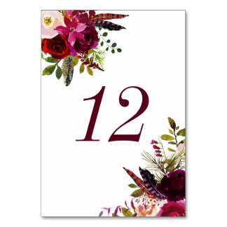 Watercolor Boho Floral Autumn Table Numbers