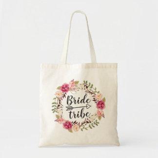 Watercolor Boho Floral Wreath Bride Tribe Tote Bag