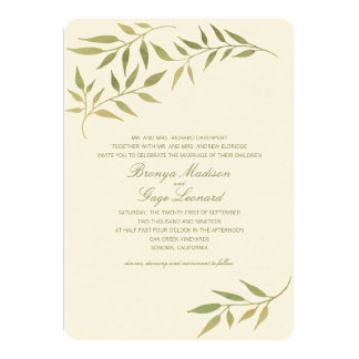 Watercolor Boho Laurel Branches | Wedding 13 Cm X 18 Cm Invitation Card