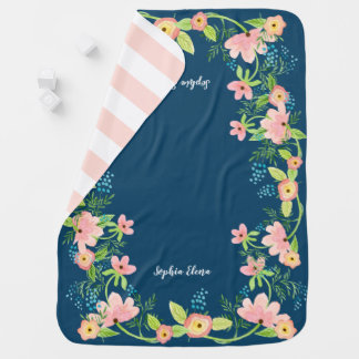 Watercolor BOHO Modern Navy Pink Floral Baby Girl Baby Blanket
