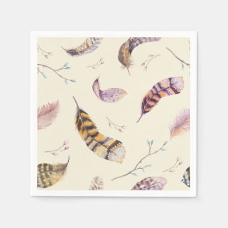 Watercolor Boho Nature Rustic Feathers Paper Napkins